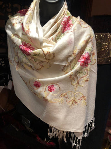Vintage Styled Ivory Colored embroidered Pashimina Shawl