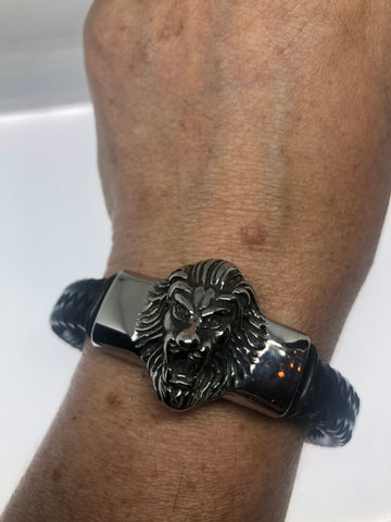 Vintage style unisex mens lion wrap bangle bracelet