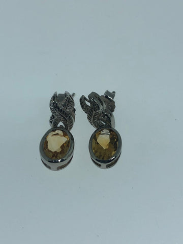 Vintage Genuine Citrine Gemstone 925 Sterling Silver Deco Dangle earrings