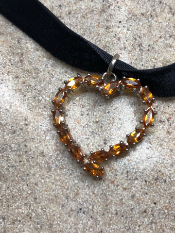 Vintage Handmade 925 Sterling Silver Genuine Citrine Antique heart Pendant Necklace