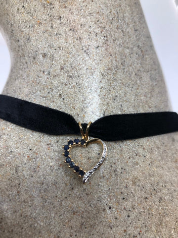Vintage Handmade 925 Sterling Silver Gold Rhodium Finish blue and white Sapphire Pendant