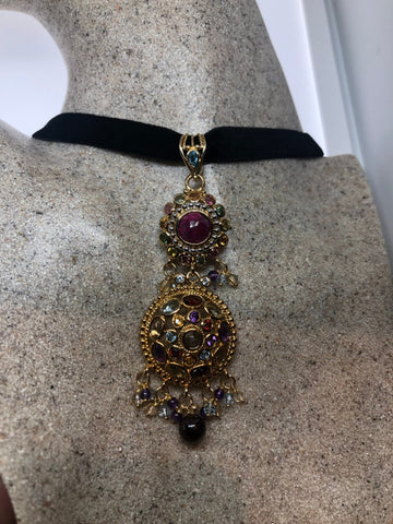 Nemesis Vintage Handmade golden 925 Sterling Silver Genuine Garnet, mixed gemstone and Ruby Antique Pendant Necklace