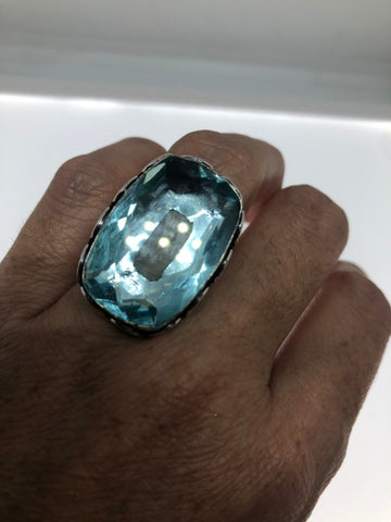 Vintage Aqua vintage Art Glass ring about 1 inch knuckle ring