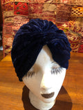 Vintage Blue stretch velvet Deco Turban Hat