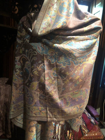 Brown Blue Vintage Paisley Brocade Pashmina Scarf Wrap Shawl