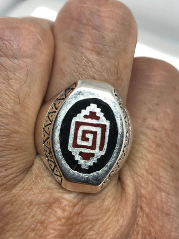Vintage Native American Southwestern Coral Stone inlay Men Ring