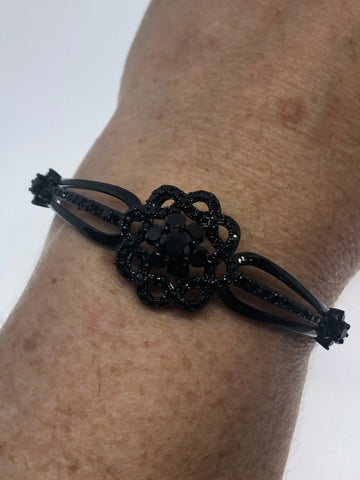 Vintage black jet Austrian Crystal bangle Bracelet