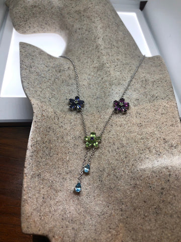 Vintage Handmade 925 Sterling Silver Purple Amethyst and peridot Flower necklace