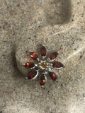 Vintage Red Garnet Earrings 925 Sterling Silver Stud button