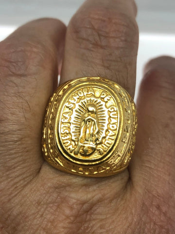 Vintage Golden Stainless Steel Our Lady of Guadeloupe Mens Ring