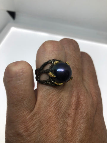 Vintage Black Pearl Ring 925 Sterling Silver