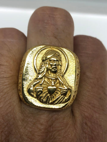 Vintage Mens Golden Jesus Ring