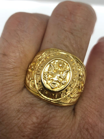Vintage Mens Golden US Army Military Ring