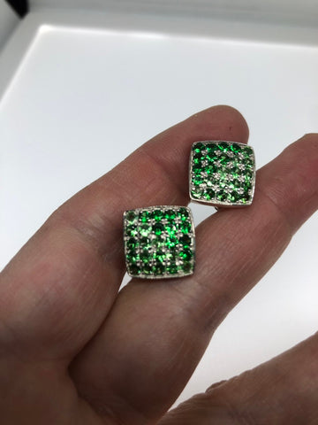 Vintage Handmade 925 Sterling Silver Chrome Diopside Earrings