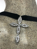 Vintage CROSS CHOKER 925 Sterling Silver white Sapphire Pendant Necklace