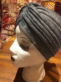 Vintage Gray glitter stretch Deco Turban Hat