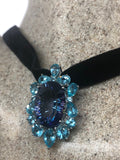 Vintage genuine deep Mystic Blue Topaz 925 Sterling Silver Necklace pendant