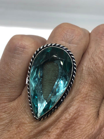 Vintage Aqua vintage Art Glass ring about 1.5 inches knuckle ring
