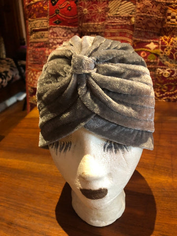 Vintage Gray stretch velvet Deco Turban Hat