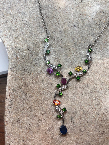 Vintage Handmade 925 Sterling Silver mixed gemstone Flower necklace