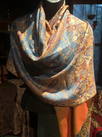 Blue Orange Vintage Paisley Brocade Pashmina Scarf Wrap shawl