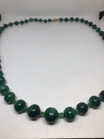 vintage genuine malachite 24 inch beaded necklace