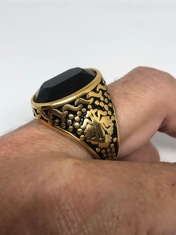 Vintage Gothic Gold Finished Stainless Steel Black Jet Mens Ring