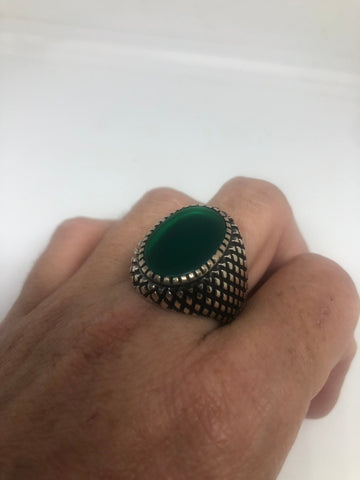 Vintage 1970 Gothic Sterling silver Genuine Green Onyx Mens Ring