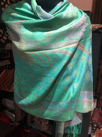 Vintage Peacock feather Brocade Pashmina Scarf Wrap shawl