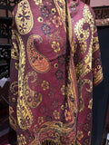Vintage Burgundy Red metallic gold Paisley Brocade Pashmina Scarf Wrap