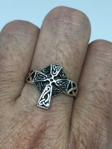 Vintage Gothic 925 Sterling Silver Celtic Cross Ring