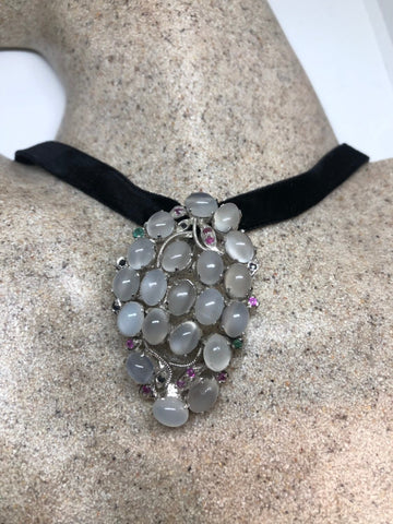 Vintage Rhodium 925 Sterling Silver Moonstone and Gemstone Pin Pendant Necklace Choker