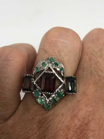 Vintage Handmade Genuine mixed Tourmaline 925 Sterling Silver Ring