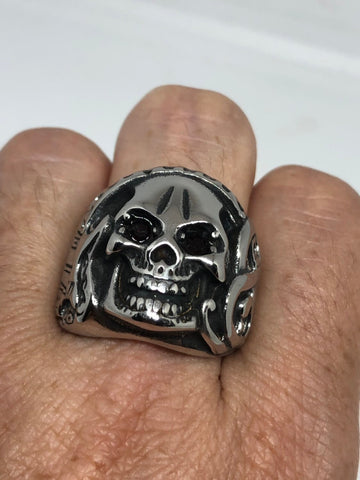 Vintage Gothic silver Stainless Steel Skull Mens Ring