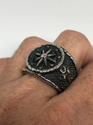 Vintage Gothic silver Stainless Steel Navy Anchor Mens Ring