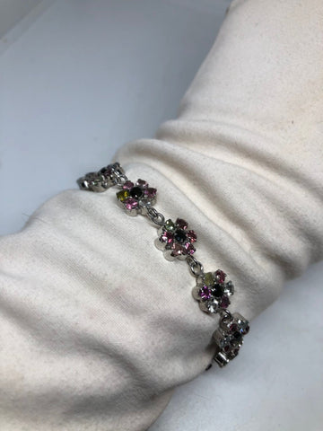 Vintage Handmade Watermelon Tourmaline Rhodium Finished 925 Sterling Silver Bracelet