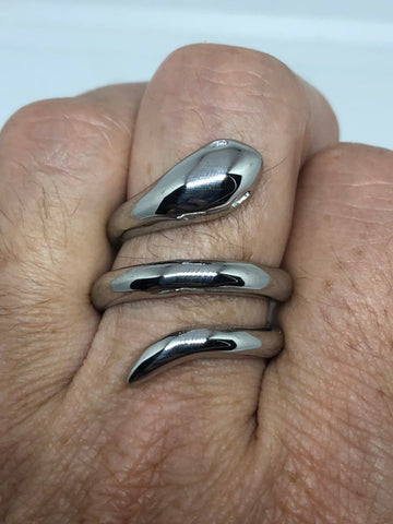Vintage stainless steel adustable snske Ring