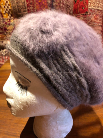 Vintage wool angora 10 in beret hat