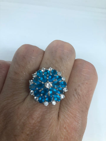 Vintage Blue Flourite 925 Sterling Silver Flower Ring Size 9