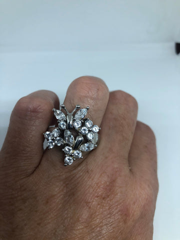 vintage clear CZ white sapphire 925 Sterling Silver cocktail Ring SIze 7