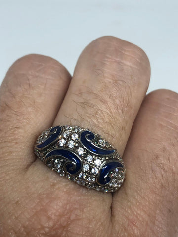 Vintage filigree Cubic Zirconia Crystal Gothic Blue Cloisone Sterling Silver ring