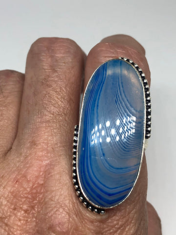 Vintage geniune blue lace agate Silver Ring