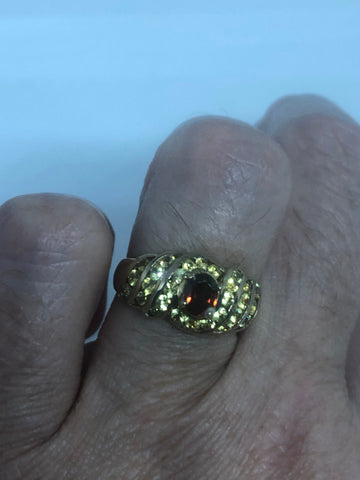 Vintage Golden Topaz Garnet Setting 925 Sterling Silver Gothic Ring