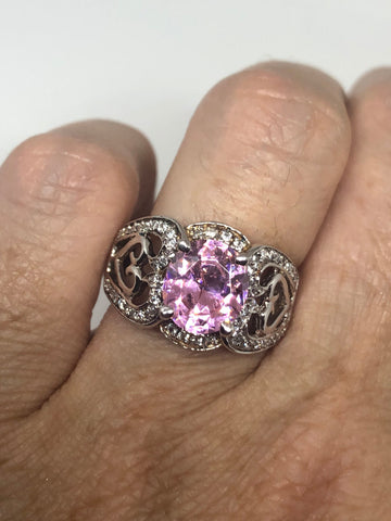 vintage Pink CZ 925 Sterling Silver cocktail Ring SIze 6.5