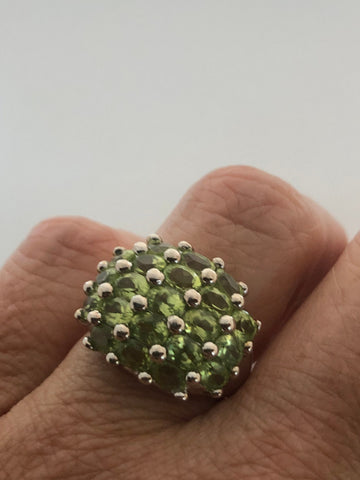 Vintage Handmade Genuine Green Peridot 925 Sterling Silver Ring SIze 6