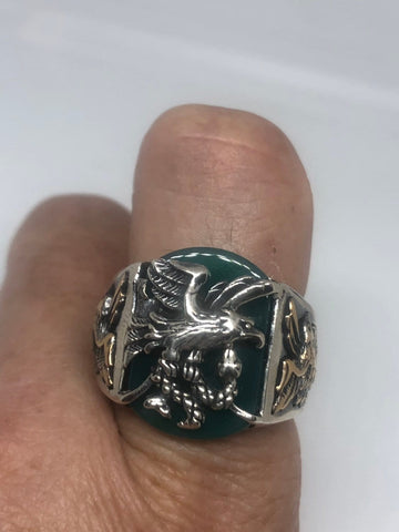 Vintage Green Onyx Eagle with Snake 925 Sterling Silver Ring
