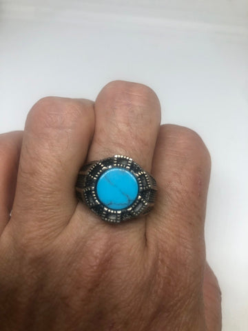 Vintage 1970 Gothic Sterling silver Genuine Turquoise Mens Ring