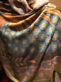 Vintage Blue Peacock feather Brocade Pashmina Scarf Wrap shawl
