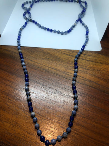 60 Inch hand knoted vintage blue Dyed Onyx beaded necklace
