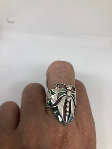Antique Deco mother of pearl Abalone Dragonfly fillgree sterling silver ring